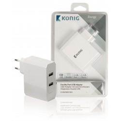 Lader 2 - Uitgangen 4.8 A USB Wit