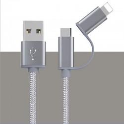 Multfunctionele laadkabel met lightning (1x) en micro usb (1x) Goud